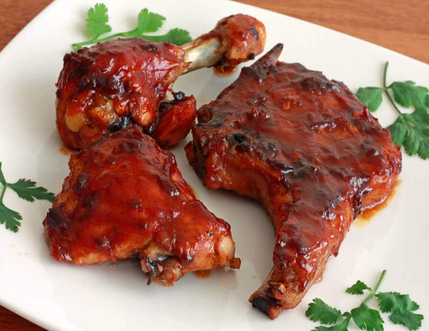 Oven baked pork chops chicken with chipotle maple barbecue sauce recipe