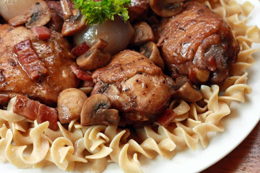 coq au vin French recipe classic chicken main dish entree traditional mushrooms wine onions