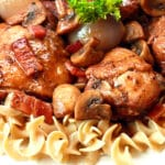 coq au vin recipe best traditional French braised chicken authentic Julia Child bacon onions mushrooms wine