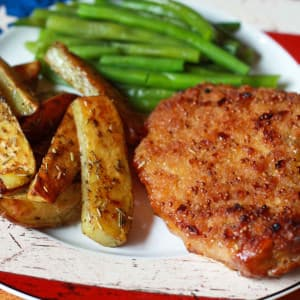Southern Style Peach Mustard Pork Chops