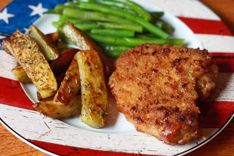 Southern Style Peach Mustard Pork Chops - The Daring Gourmet