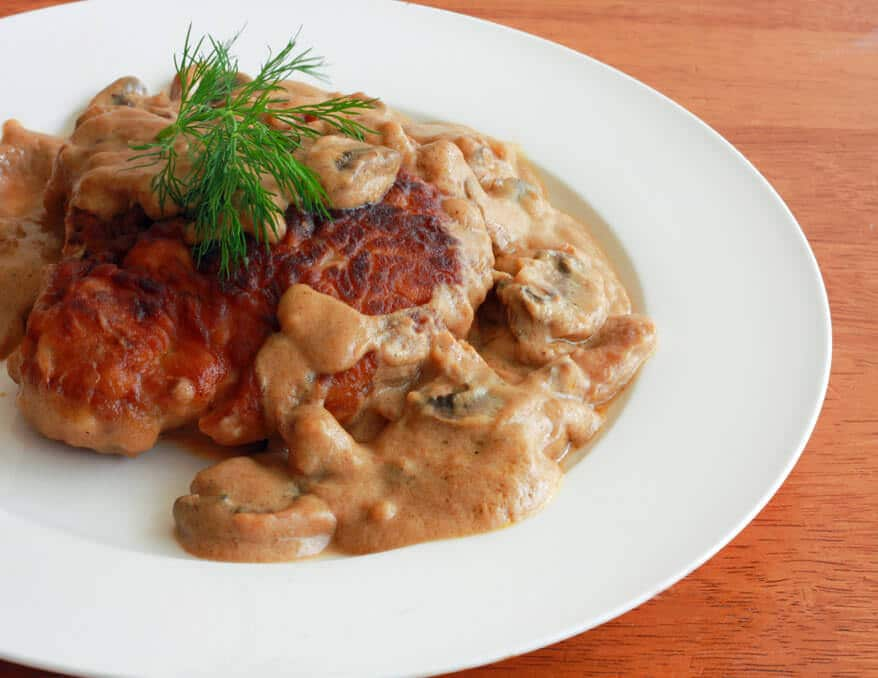 Hunter's Pork Chops with creamy mushroom gravy sauce recipe