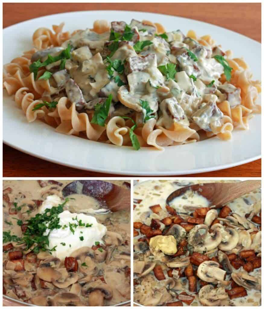 vegetarian stroganoff recipe tofu mushrooms creamy