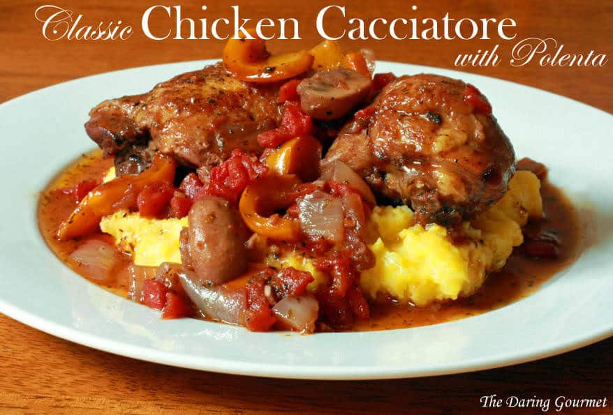 chicken cacciatore polenta Italian authentic recipe classic bell peppers mushrooms