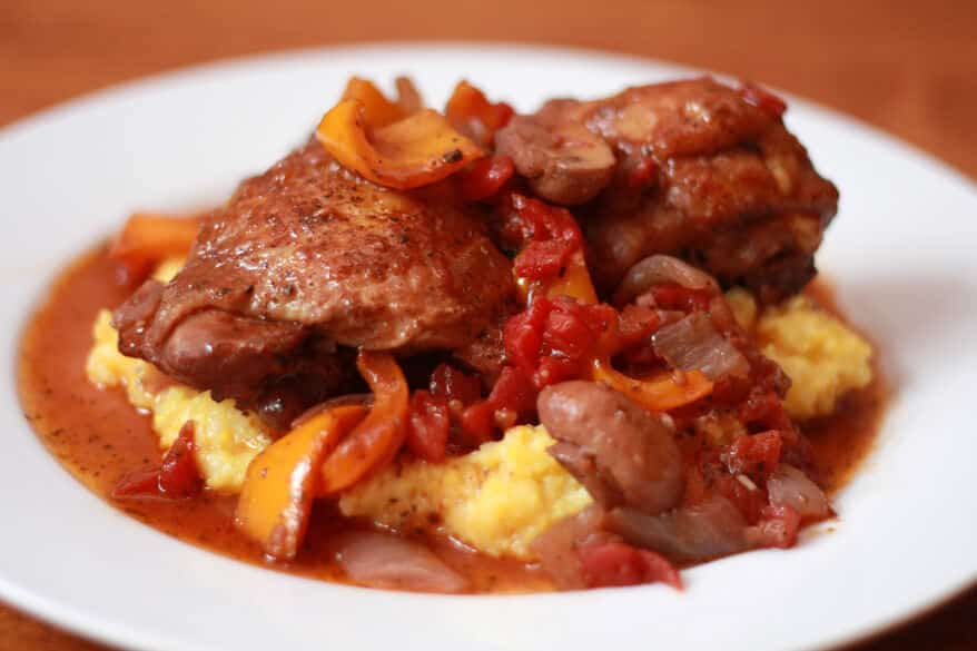 Chicken Cacciatore on Polenta