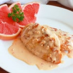Chicken with pink grapefruit cream sauce