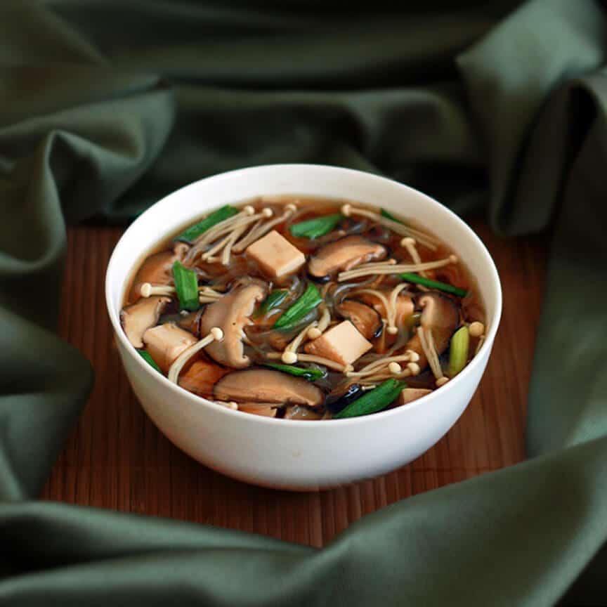 Japanese Soup shiitake enoki mushrooms tofu sake mirin