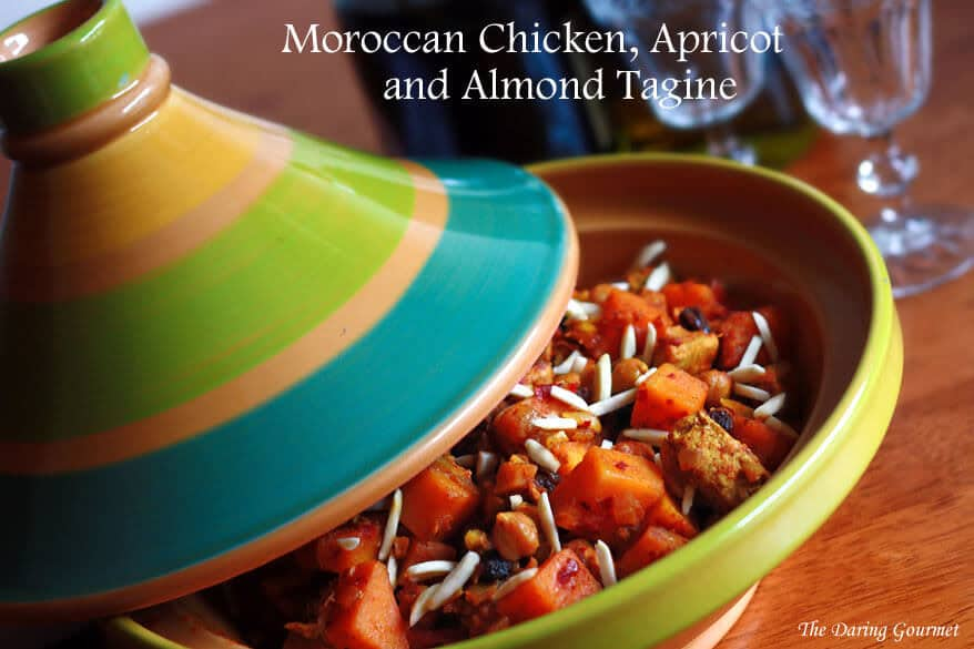Moroccan tagine recipe chicken butternut squash pumpkin chicken almonds raisins apricot authentic harissa