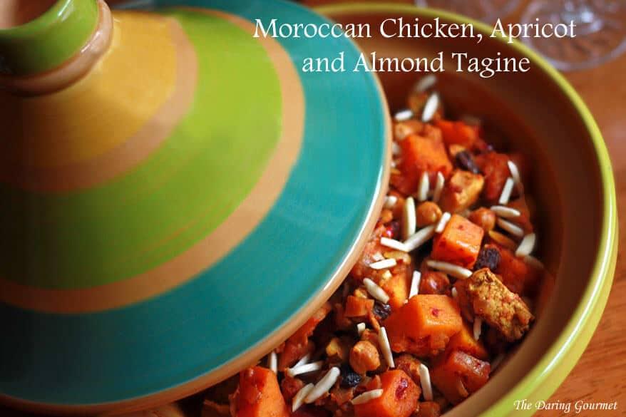 Moroccan tagine recipe chicken butternut squash pumpkin chicken almonds raisins apricot authentic harissa
