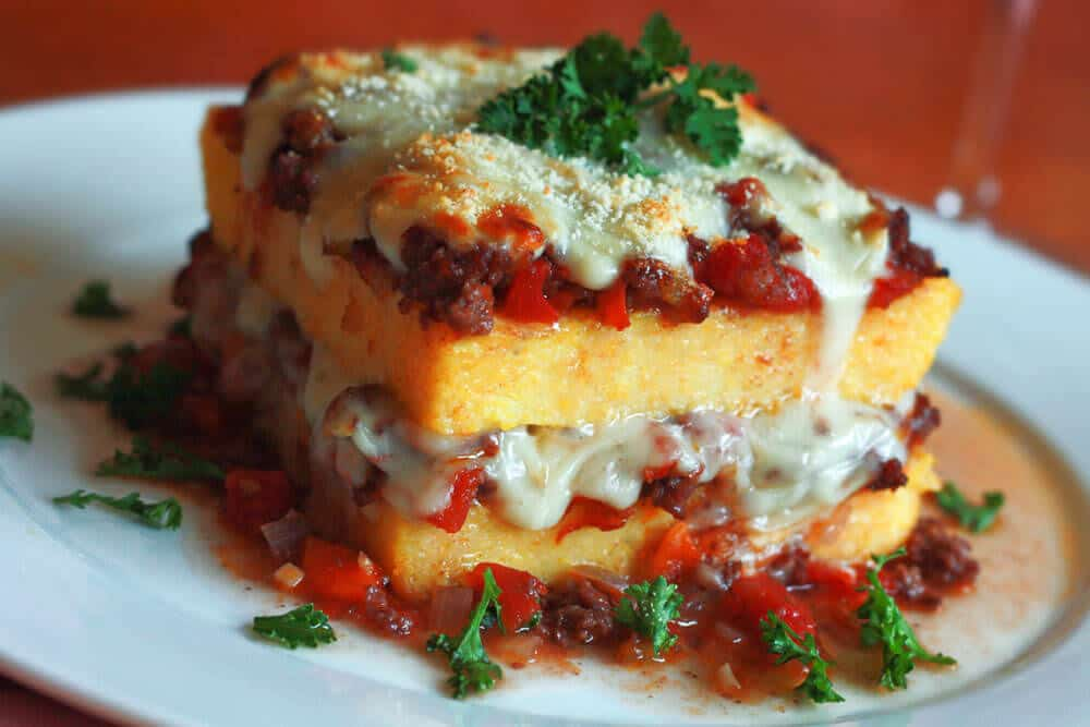 polenta lasagna casserole recipe ground beef tomatoes Italian