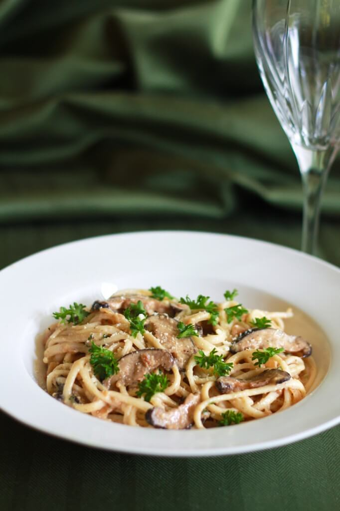 Creamy Fettuccine with Shiitake and Porcini