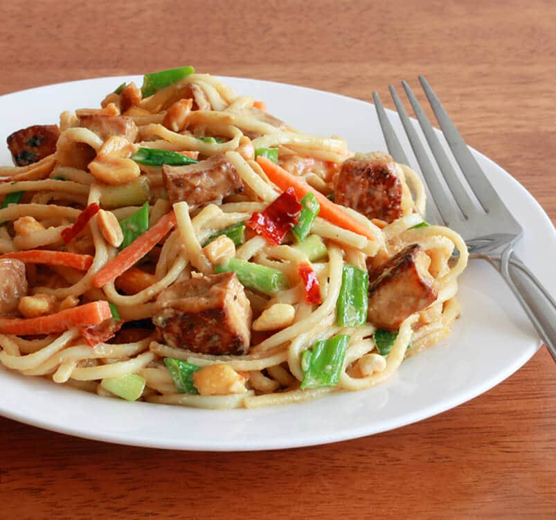 Thai Peanut Tofu Noodles 1