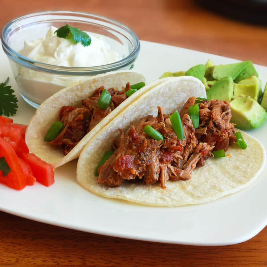 Tinga Poblana tacos burritos tostadas pork slow cooker chipotle pulled pork