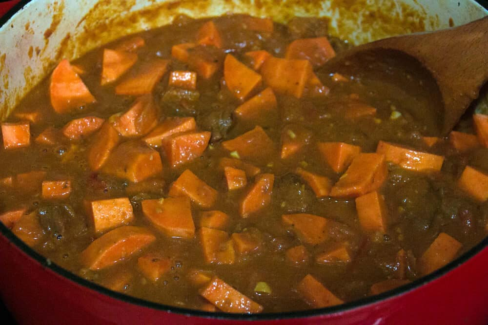 domoda gambian peanut stew recipe beef chicken sweet potato pumpkin