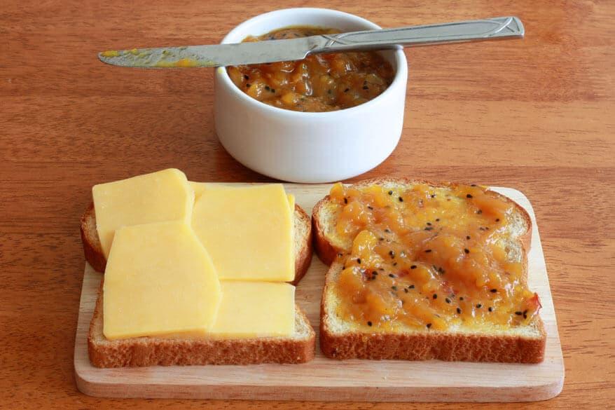 Grilled Cheese Chutney Sandwich prep 2