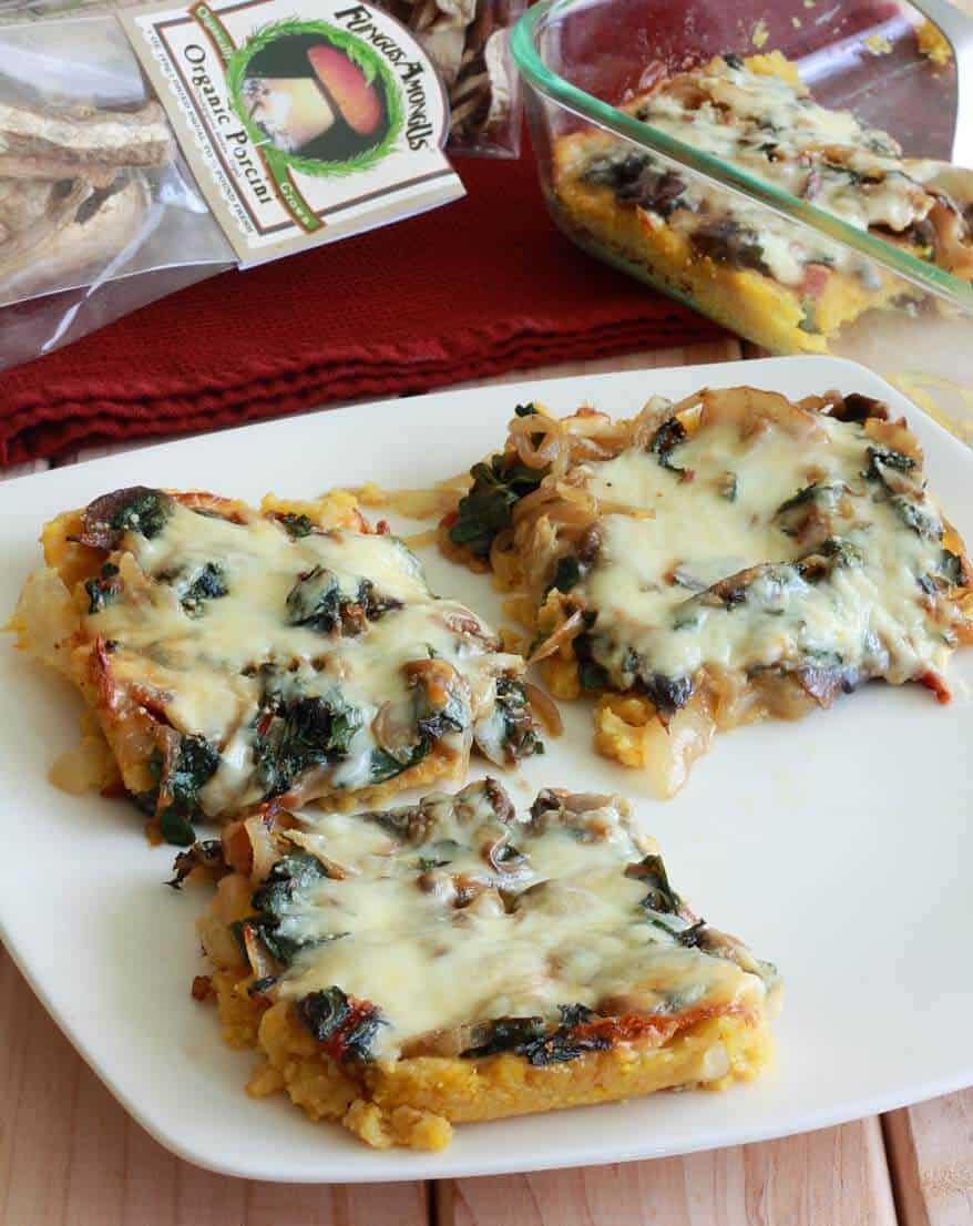 Baked Polenta, mushrooms, porcini, shiitake, cheese, mozzarella, parmesan, swiss chard, onions, bacon, polenta, cornmeal, grits