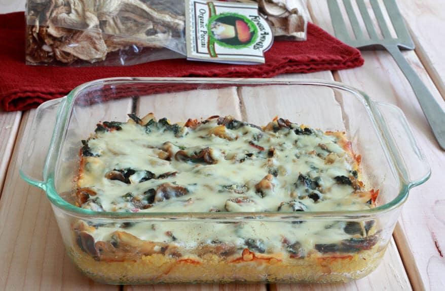 Baked Polenta porcini, mushrooms, cheese, Parmesan, onions, Swiss chard, bacon, cremini, shiitake
