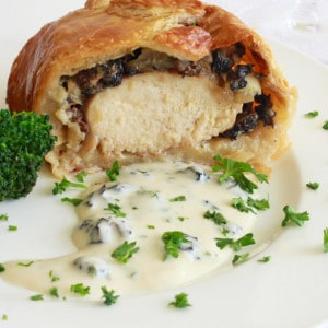 Chicken Wellington with Morels, Caramelized Onions & Gorgonzola