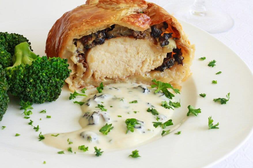 Chicken Wellington morels onions gorgonzola blue cheese gourmet