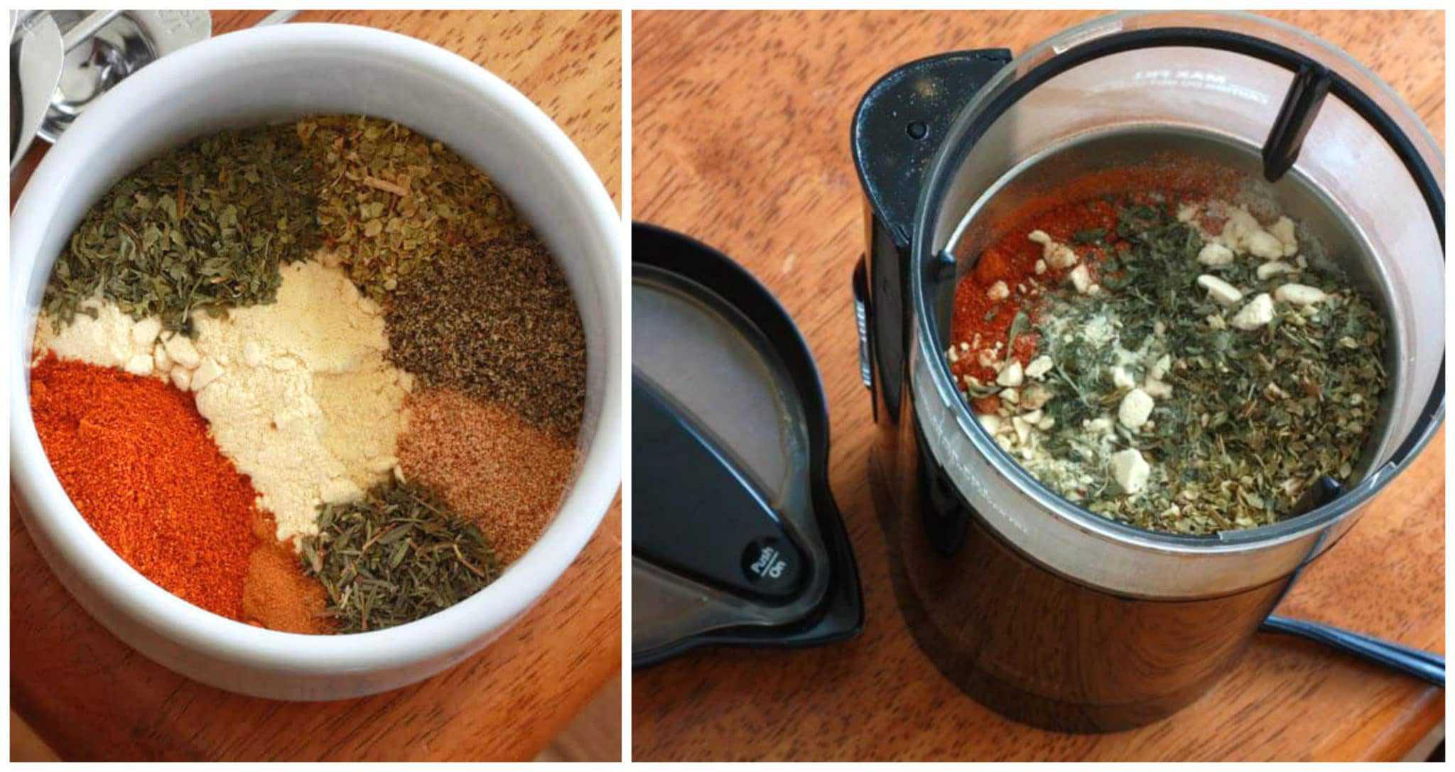 grinding ingredients in spice grinder