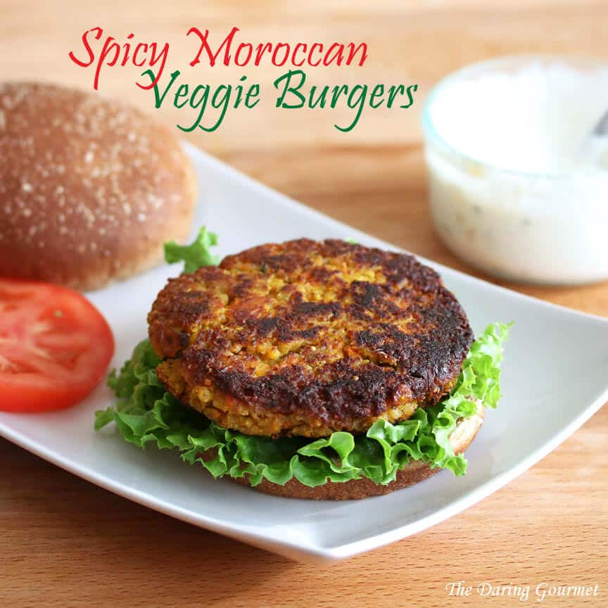 Moroccan veggie burgers recipe garbanzo beans chickpeas sweet potato preserved lemons harissa spicy