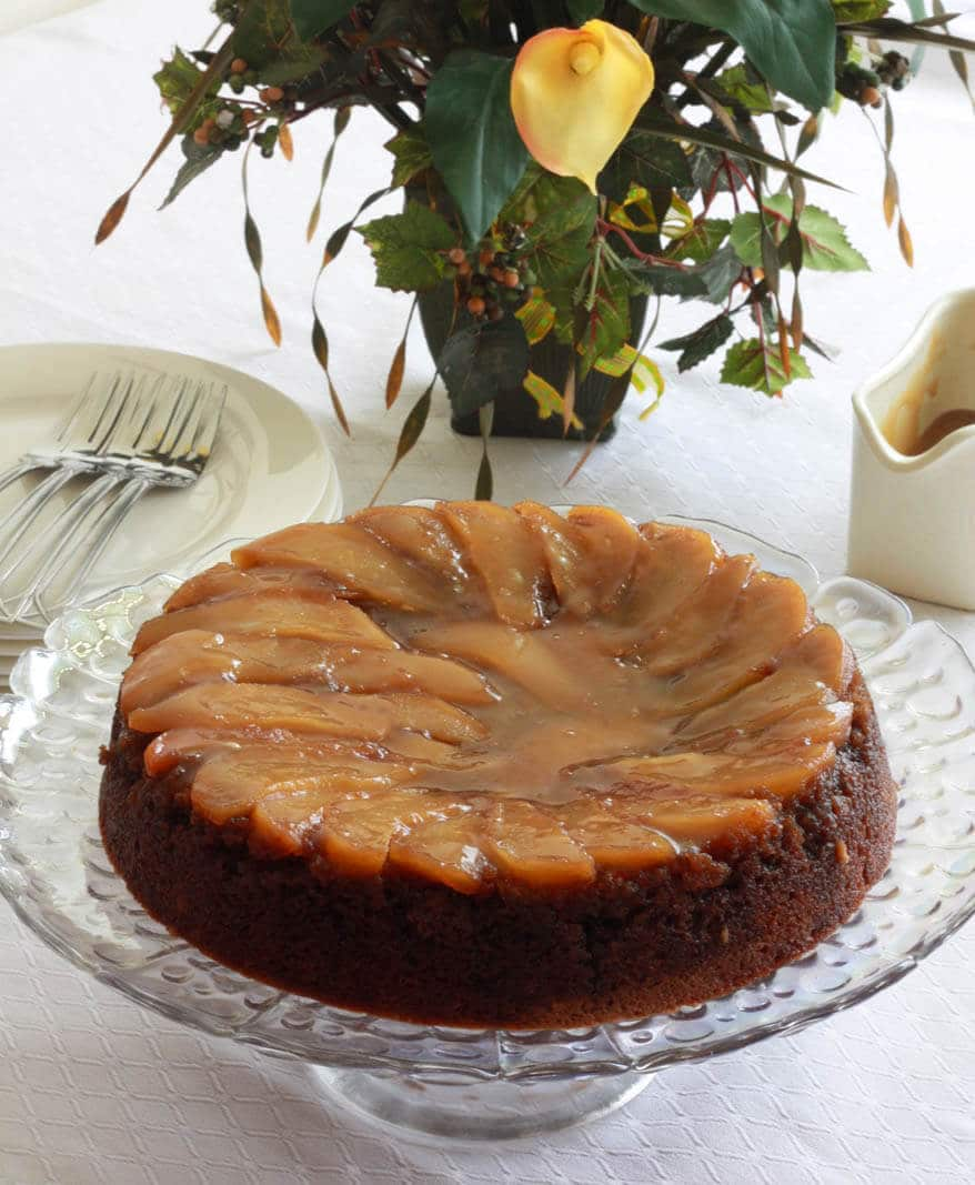 Pear Upside Down Gingerbread Cake