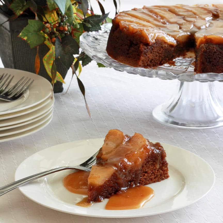 Pear Upside Down Gingerbread Cake Caramel Sauce