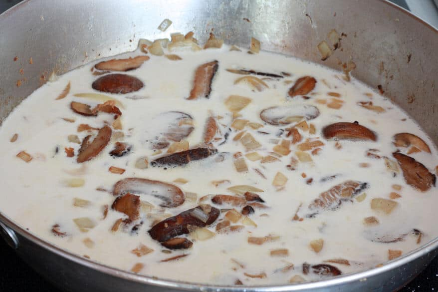 Porcini Mushroom Linguine with Chicken, Shiitakes and Gorgonzola