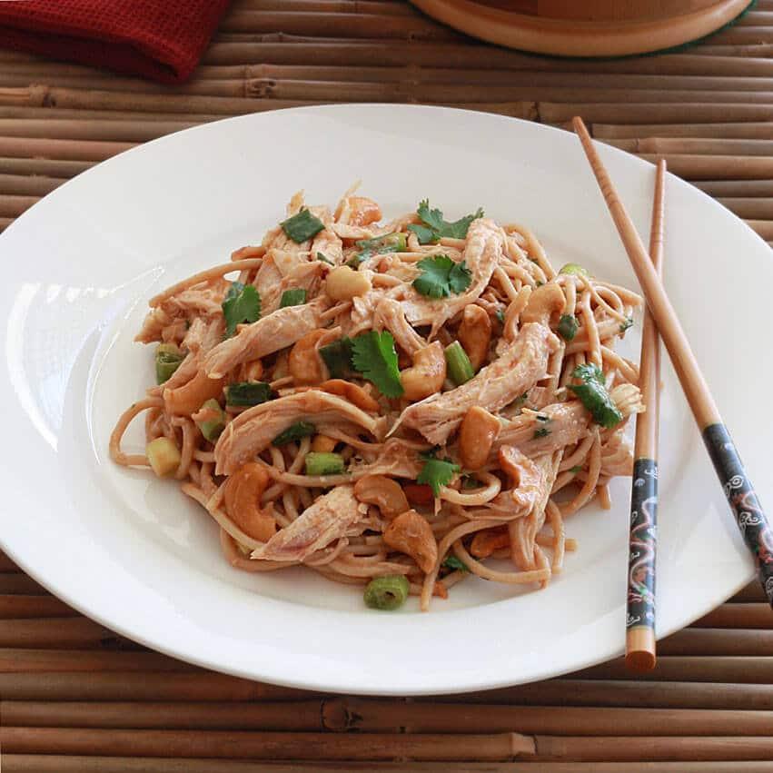 Sichuan chicken cashew noodle salad