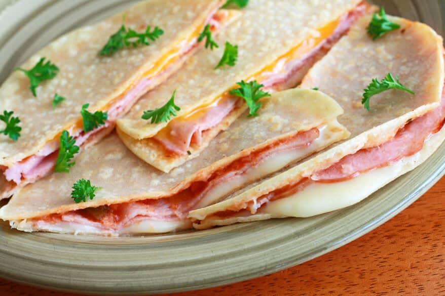 Sincronizadas ham cheese salsa tortillas