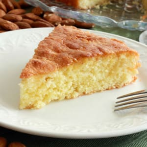 French Almond Cake with Green Tea Honey Glaze