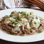 Porcini Mushroom Linguine with Chicken, Shiitakes and Gorgonzola
