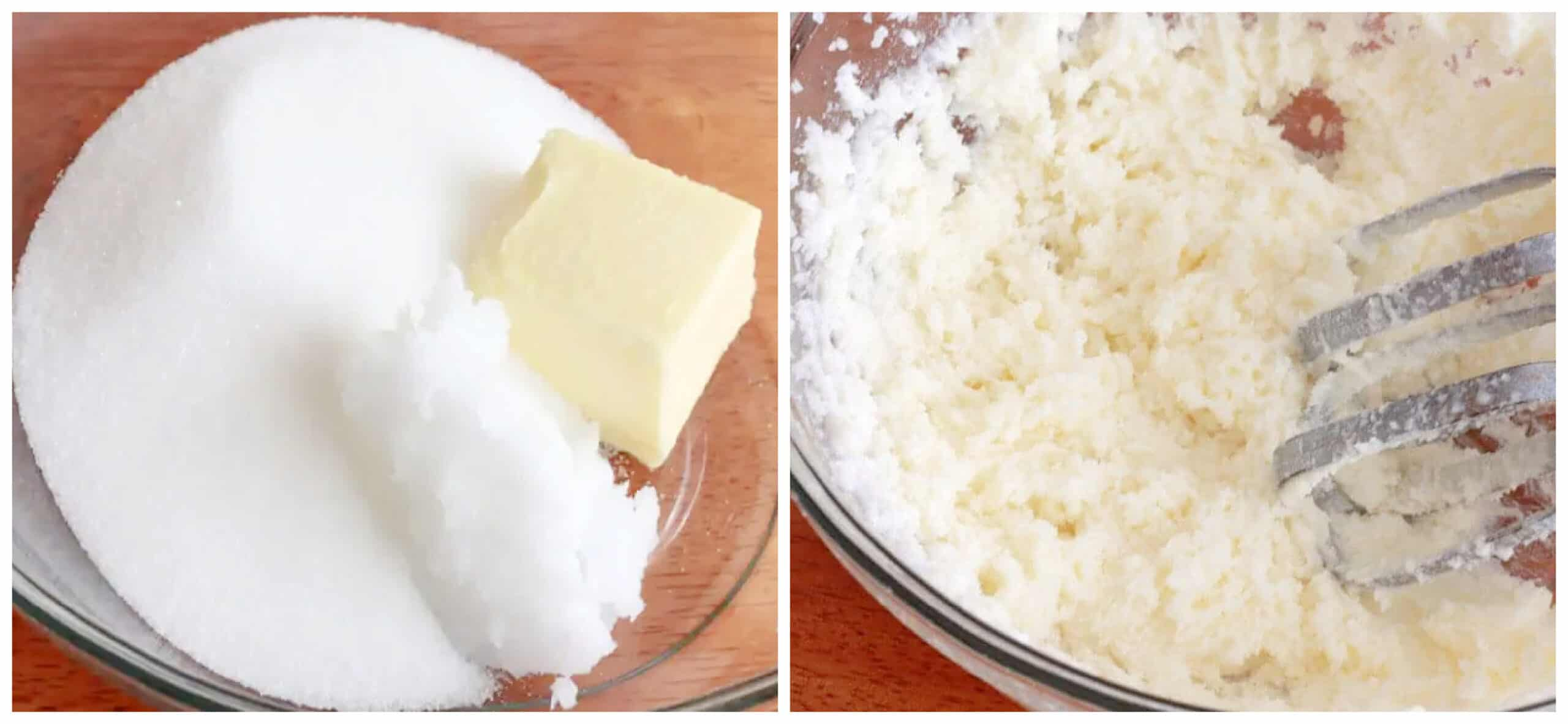 creaming butter and sugar in bowl