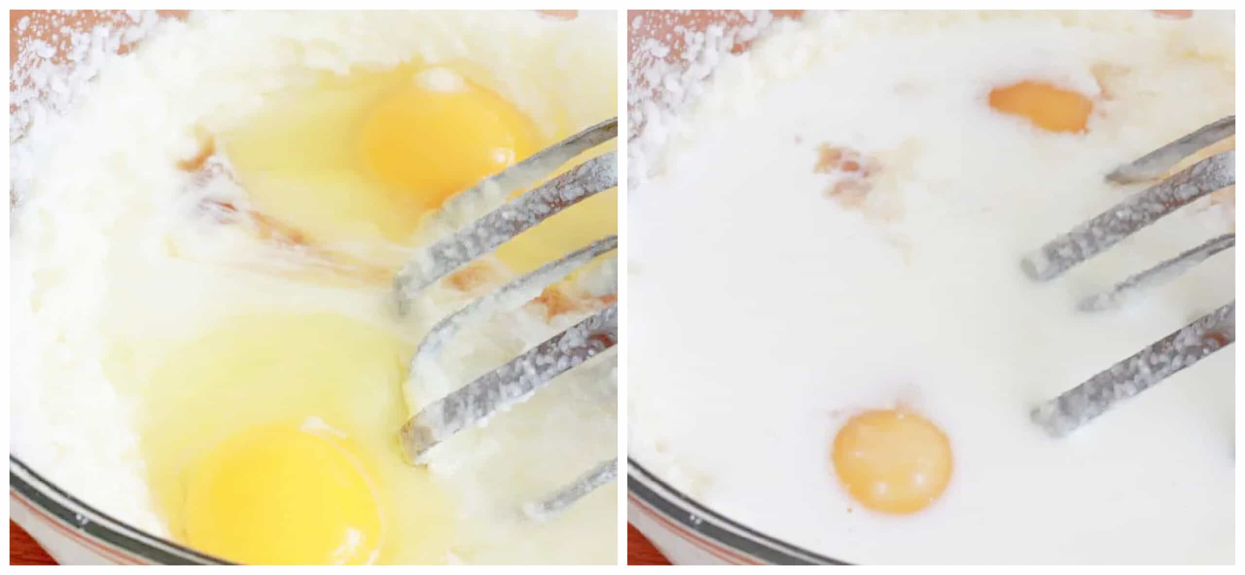 beating eggs and buttermilk into batter