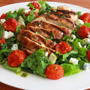 Grilled Chicken and Roasted Cherry Tomato Salad with Herbed Champagne Dijon Vinaigrette