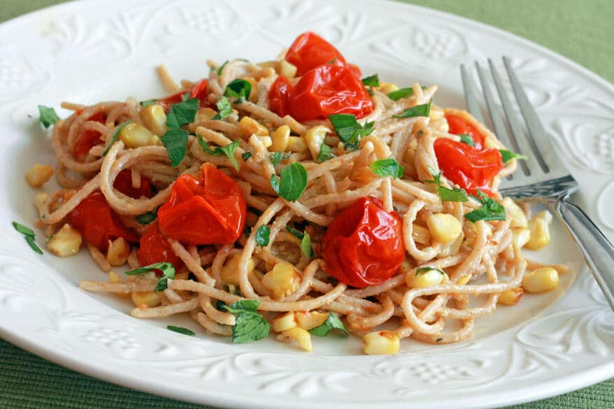 Grilled Tomato Corn Herb Parmesan Cheese Pasta Recipe