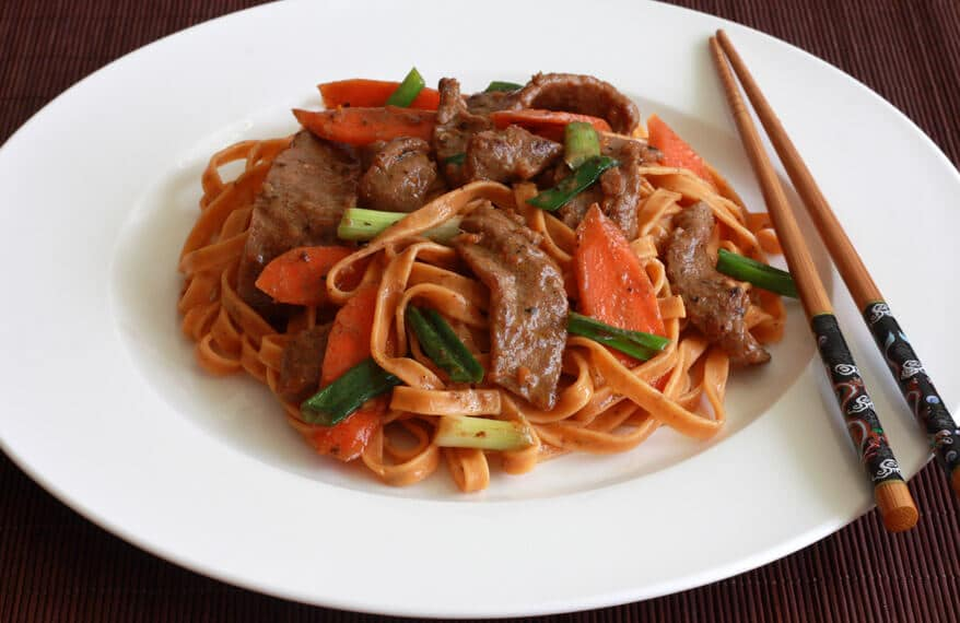 Orange Sichuan Beef with noodles pasta recipe