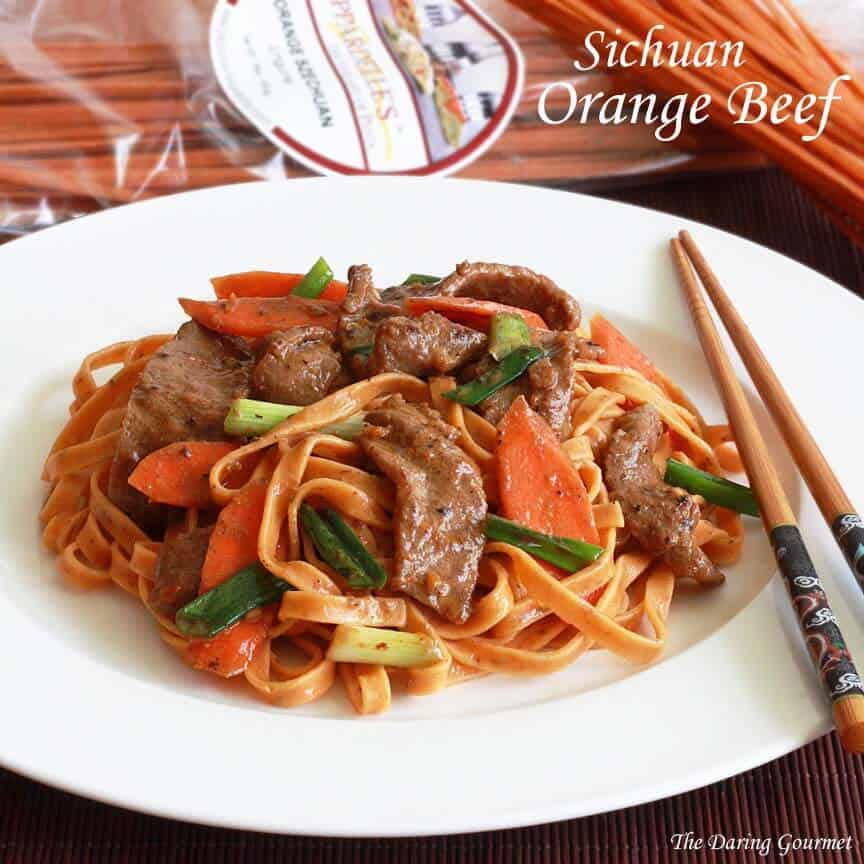 sichuan orange beef Chinese recipe noodles pasta spicy vegetables