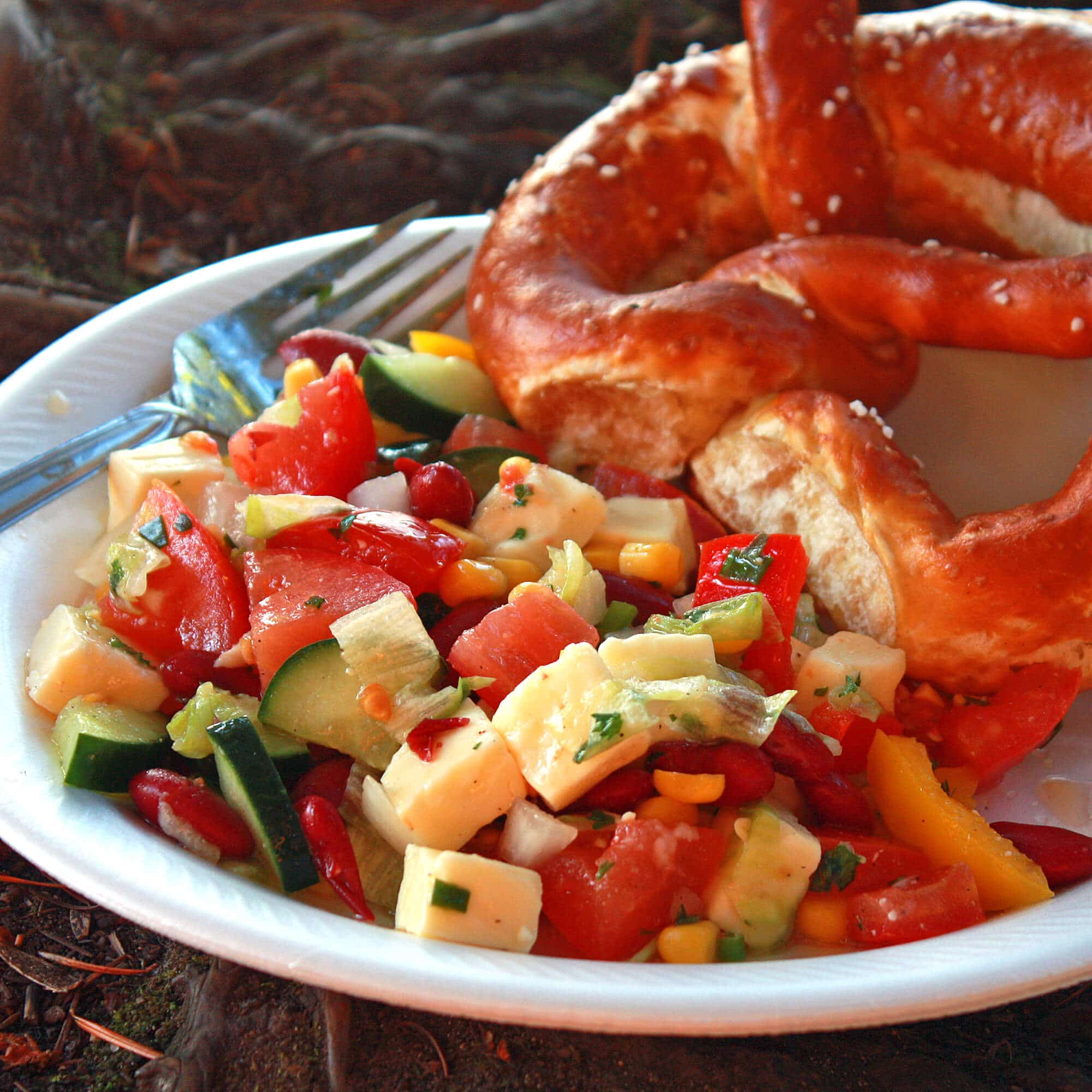 german picnic salad cheese vinaigrette cucumbers kidney beans tomatoes corn peppers recipe