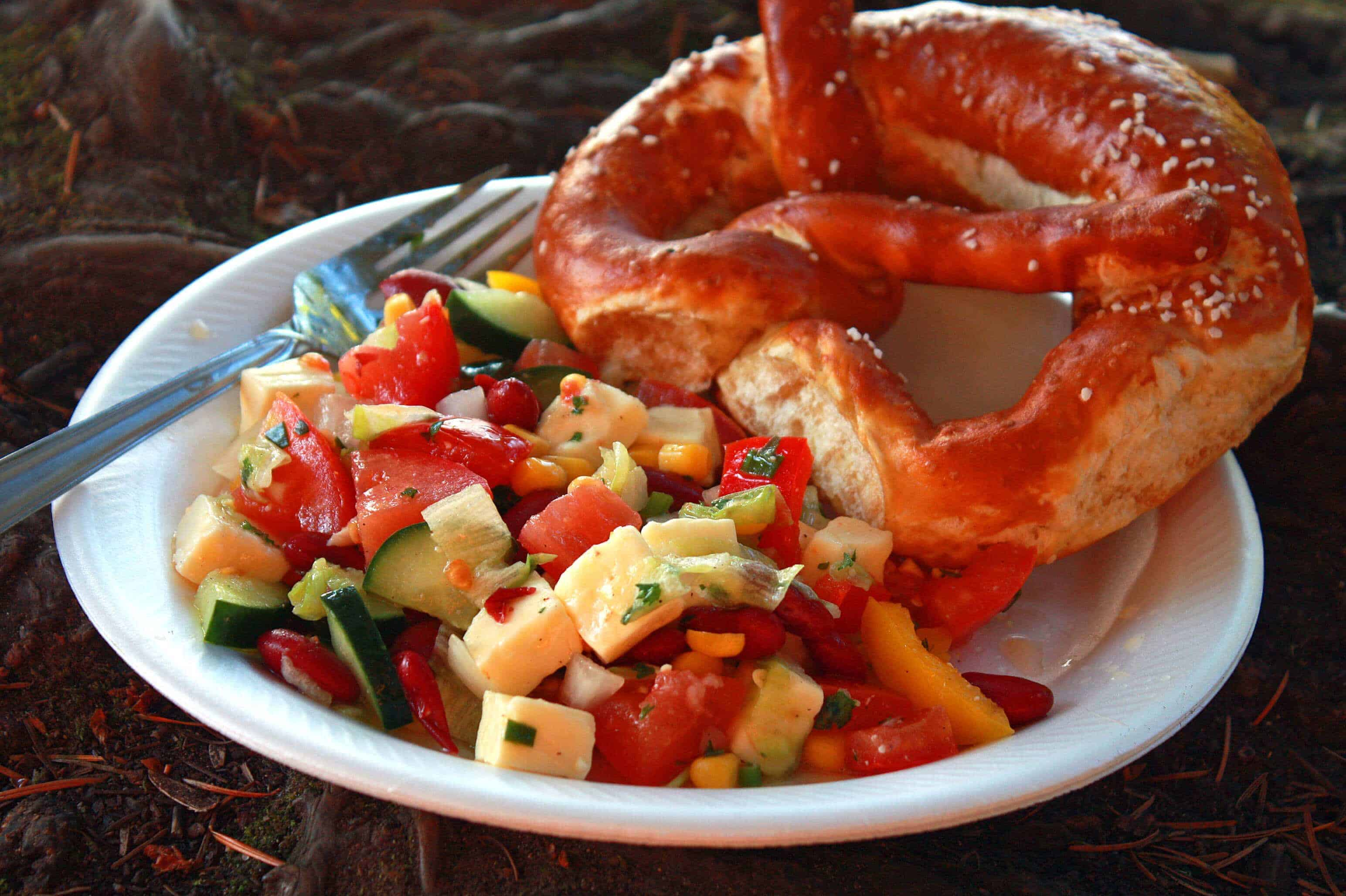 german picnic salad recipe cheese cucumbers tomatoes pepper kidney beans corn vinaigrette herbs
