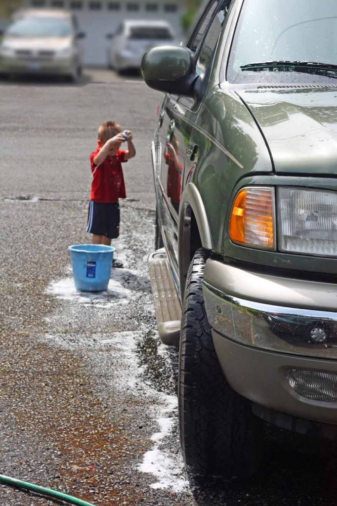 Liam washing car 1