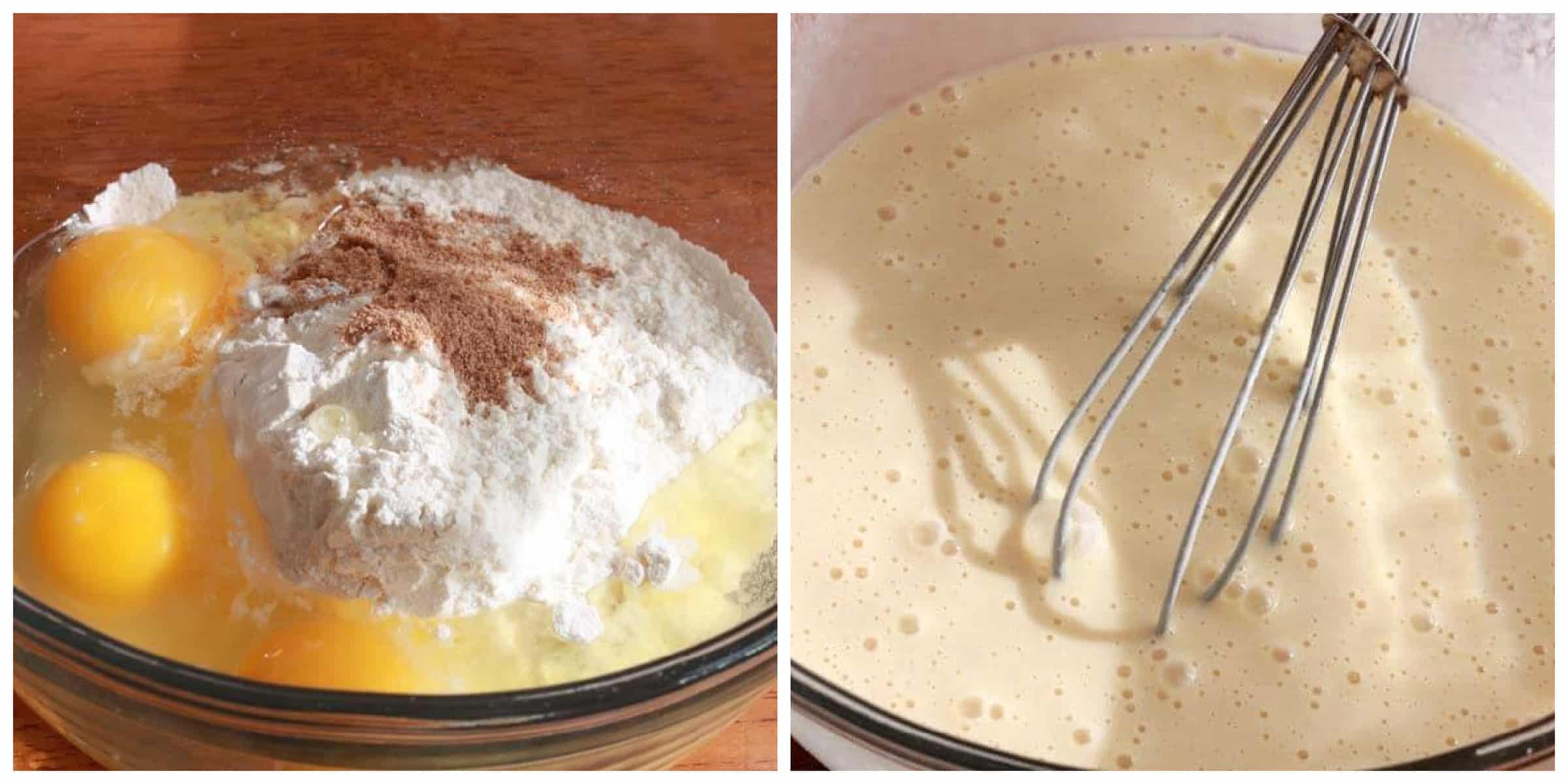 mixing eggs flour milk in bowl