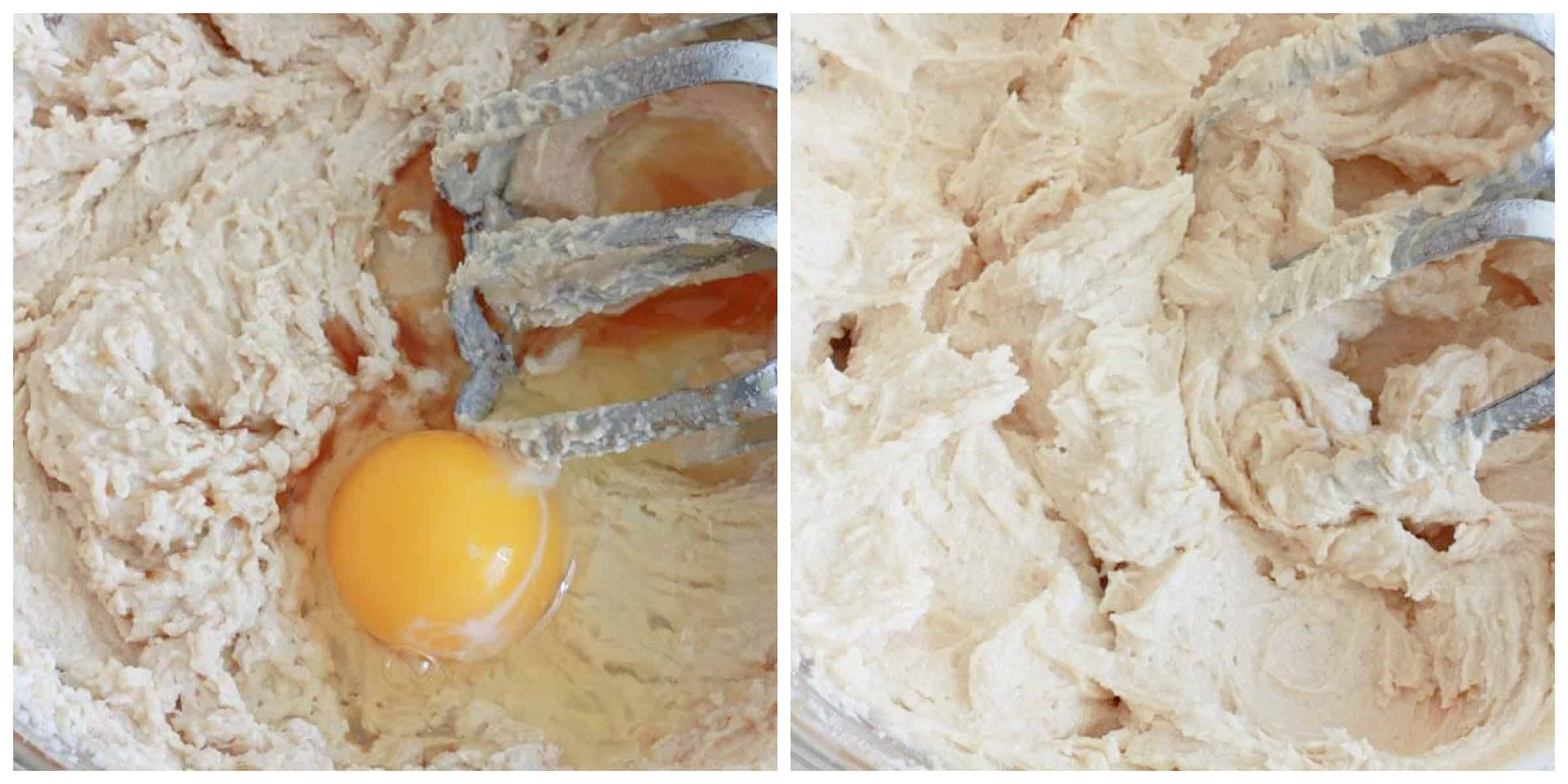 beating butter and sugar and eggs in mixing bowl