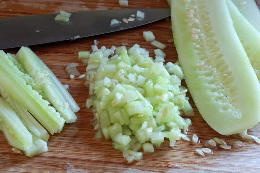 dicing cucumbers