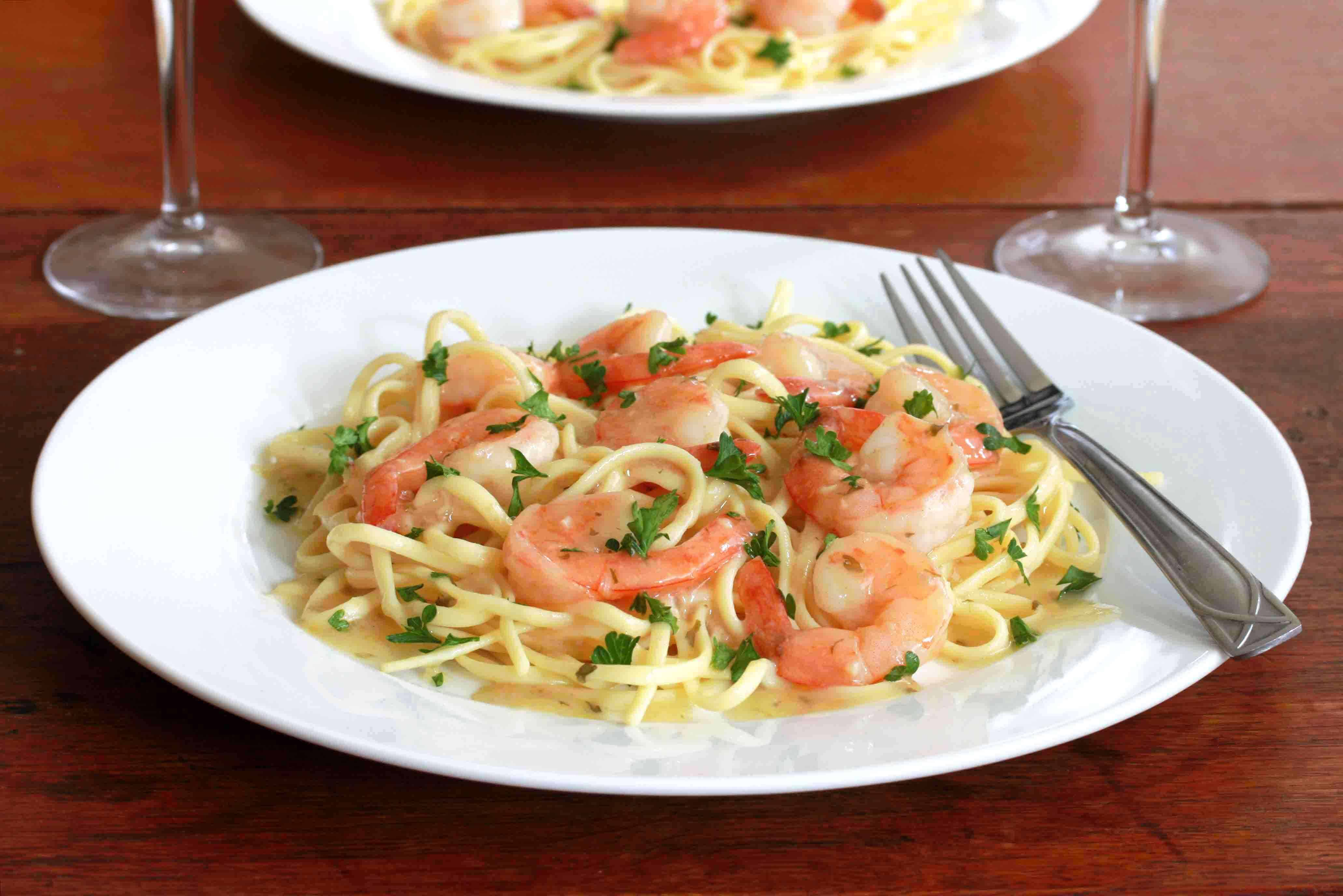 shrimp scampi recipe lemon garlic white wine pasta linguine
