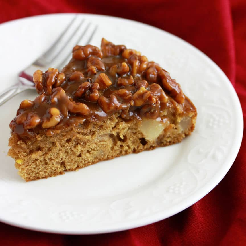 caramel pear walnut cake recipe baking christmas thanksgiving holidays baking