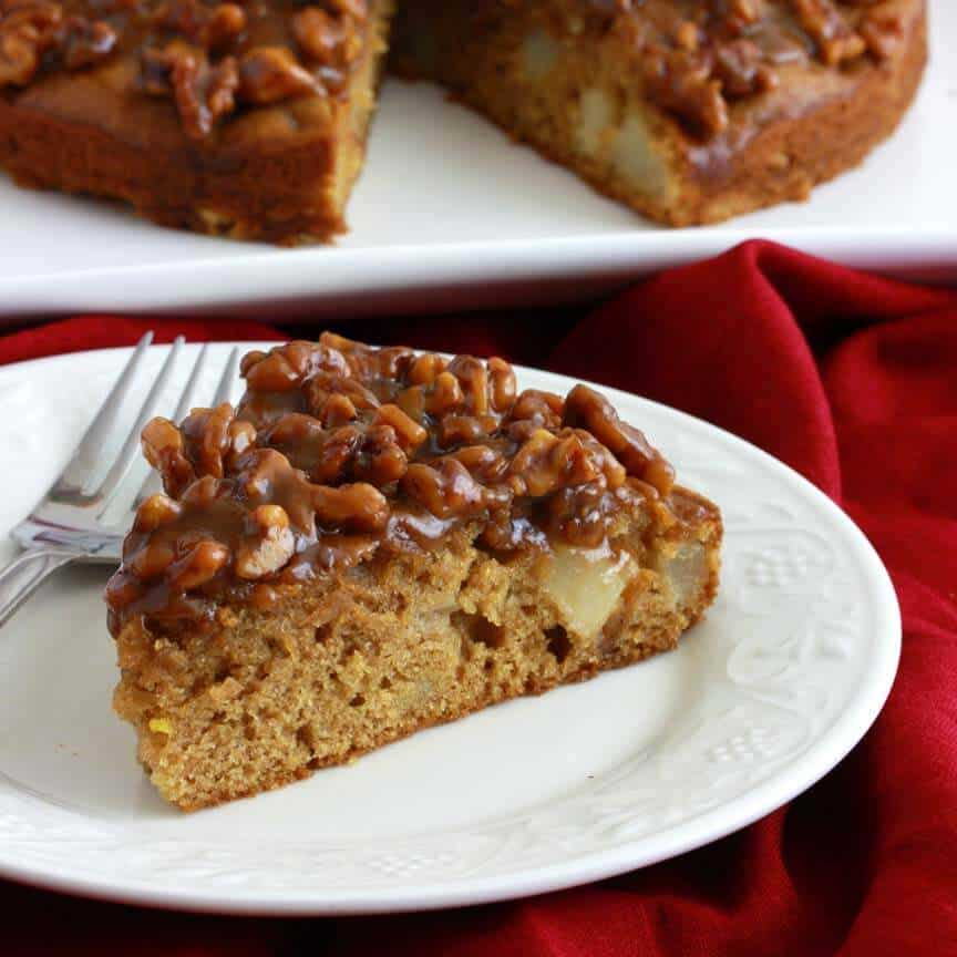 Caramel Pear Walnut Cake The Daring Gourmet