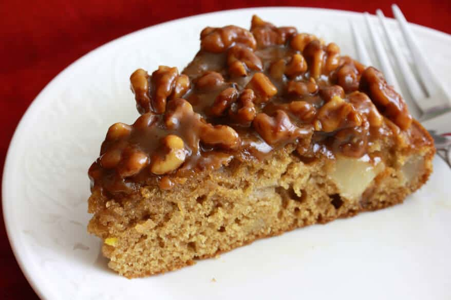 Caramel Walnut Pear Cake
