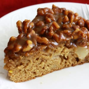 Caramel Pear and Walnut Cake