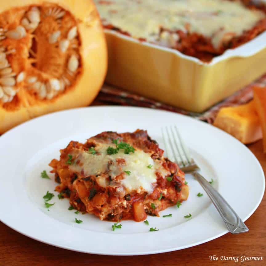 Pumpkin Kale Sausage Lasagna